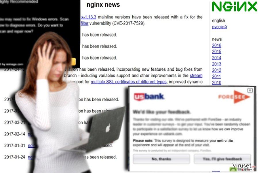 Prøven av den tilknyttede nettside - nginx.org