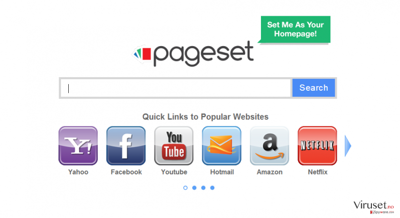 Pageset.com virus skjermbilde