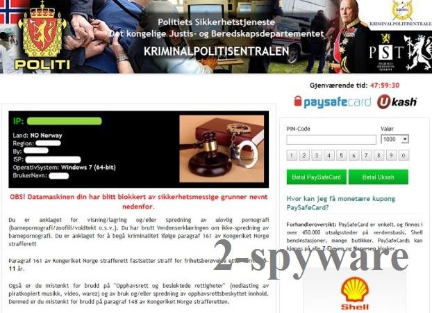 Politiets Sikkerhetstjeneste virus skjermbilde