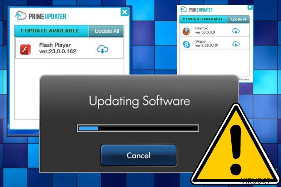 Prime Updater virus skjermbilde