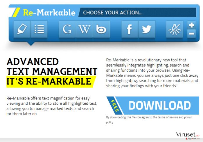 'Ads by ReMarkable' virus skjermbilde