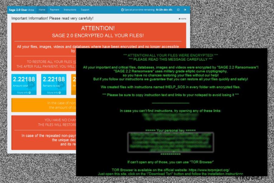 Sage 2.2 ransomware-virus skjermbilde