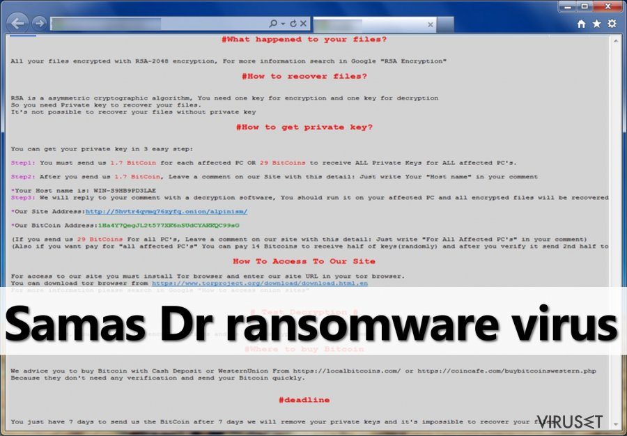 Ransom note from Samas DR authors
