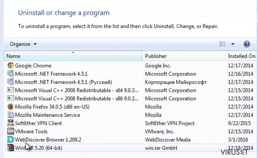 Bilde av WebDiscover nettleser applikasjonen