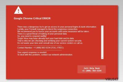 Skjermbilde av Google Chrome Critical Error