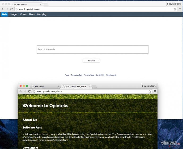 Search.opinteks.com hijacker screenshot