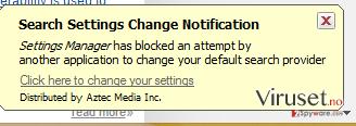 Settings Manager by Aztec Media Inc pop-up virus skjermbilde