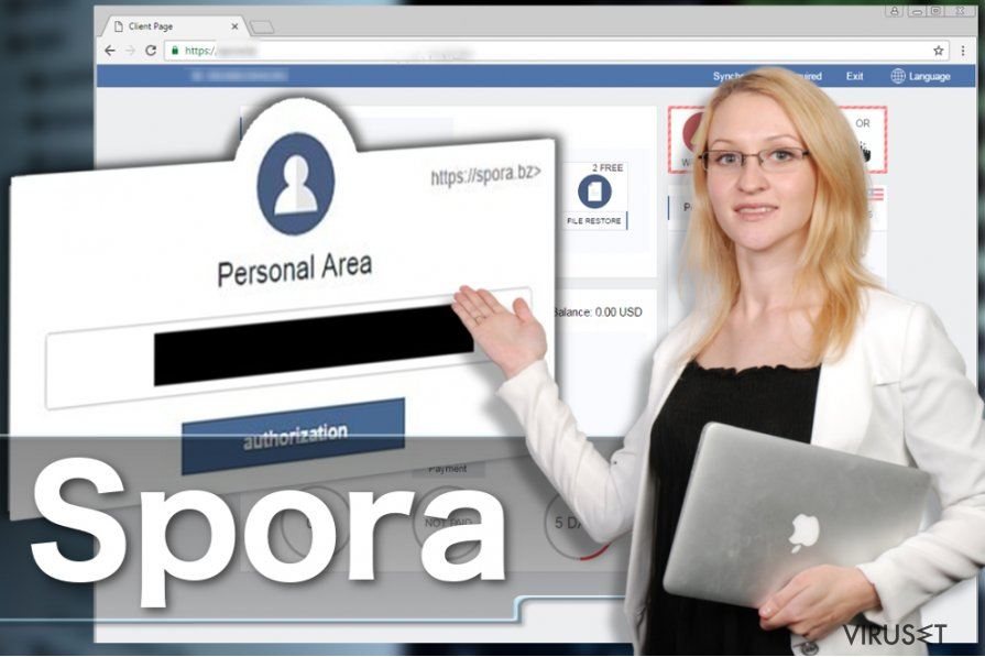 Spora ransomware virus skjermbilde