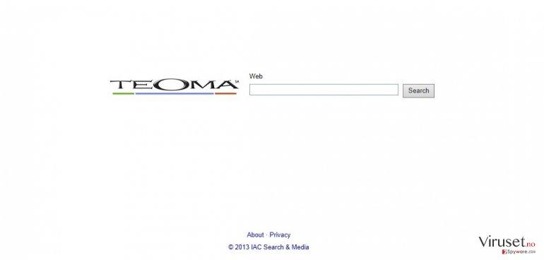 Teoma Web Search skjermbilde