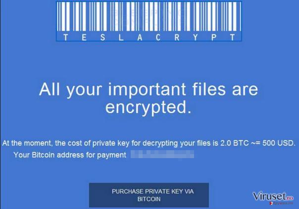 TeslaCrypt 2.0 skjermbilde