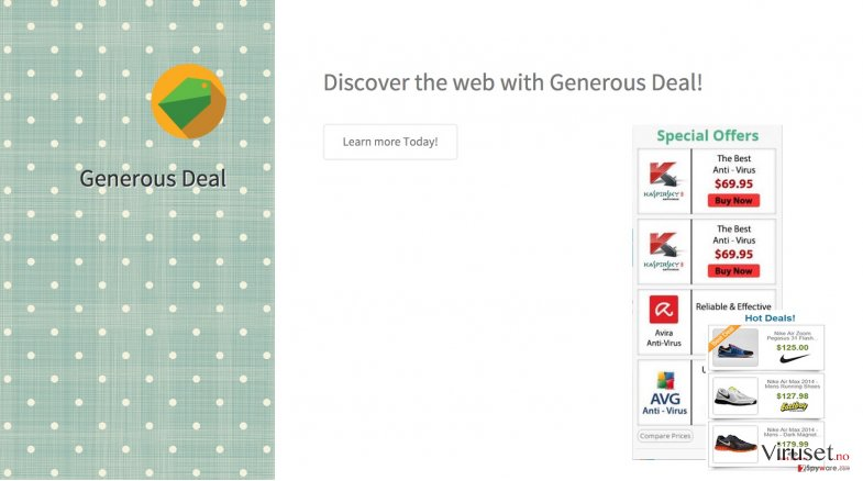 The picture showing Generous deal ads