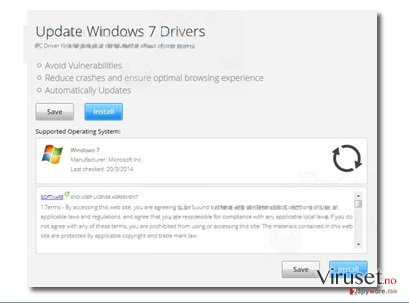 """Update Windows 7 Drivers"" popup ads skjermbilde"