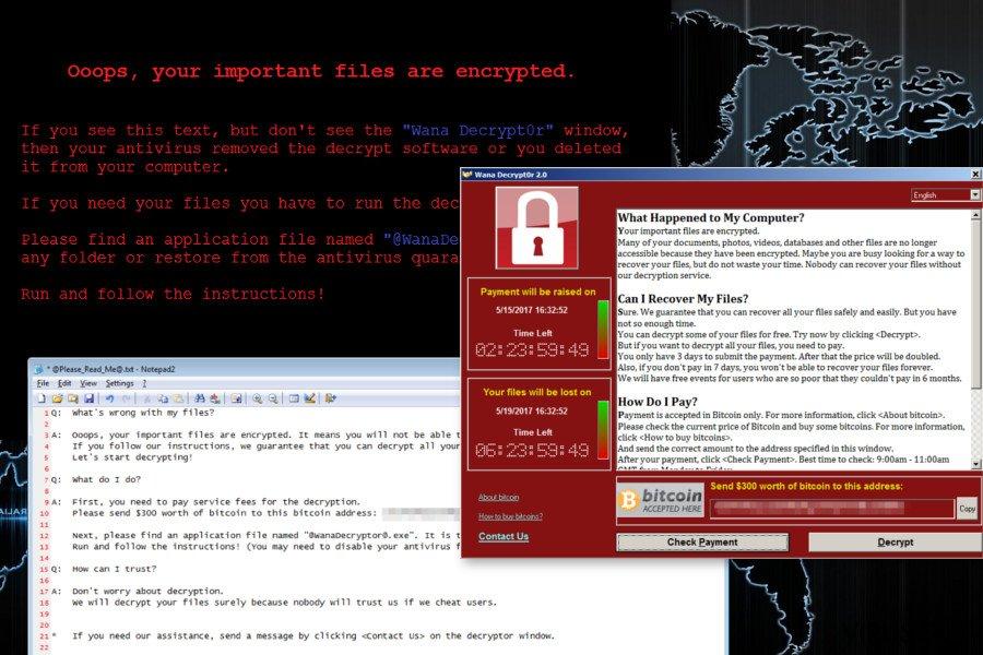 Wana Decrypt0r ransomware virus skjermbilde