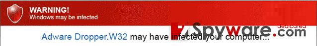 Warning! Windows may be infected skjermbilde