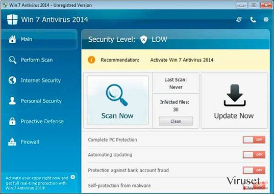 Win 7 Antivirus 2014 skjermbilde