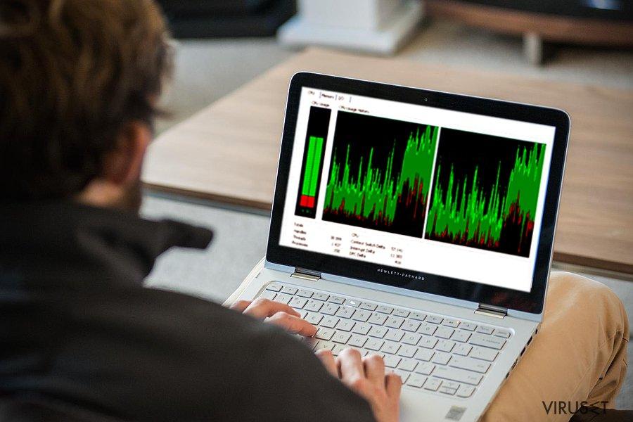 Bilde som viser CPU-bruk av Win32.CoinMiner