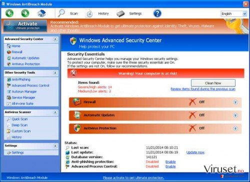 Windows AntiBreach Module skjermbilde