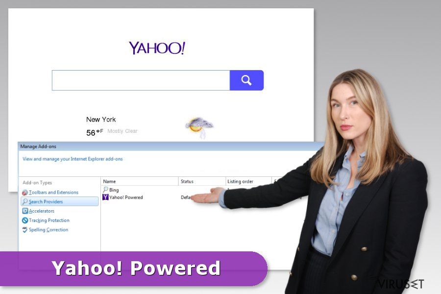 Eksempel på Yahoo Powered-kapring