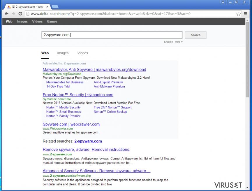 Yahoo omdirigeringsvirus skjermbilde