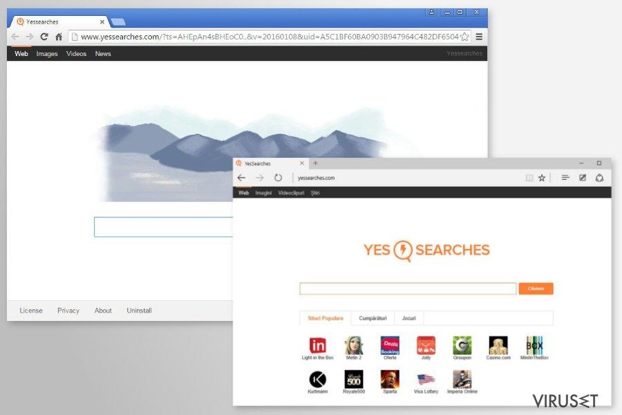 YesSearches.com omdirigeringer skjermbilde