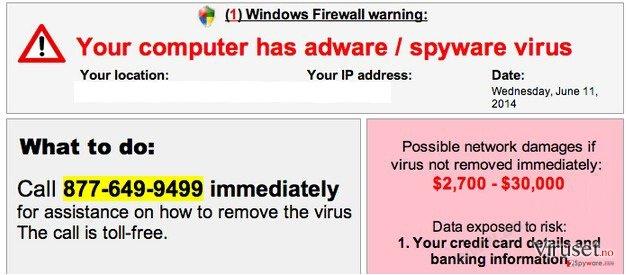 Your computer has adware / spyware virus skjermbilde