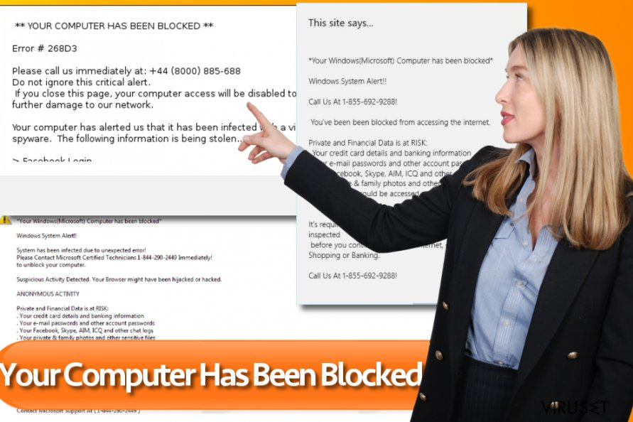"""Your Computer Has Been Blocked"" skjermbilde"