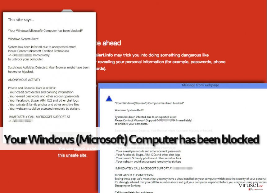Your Windows (Microsoft) Computer has been blocked falske advarsler