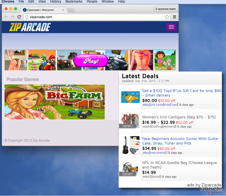 Zip Arcade extension on infected computers allows to deliver ads via web browsers