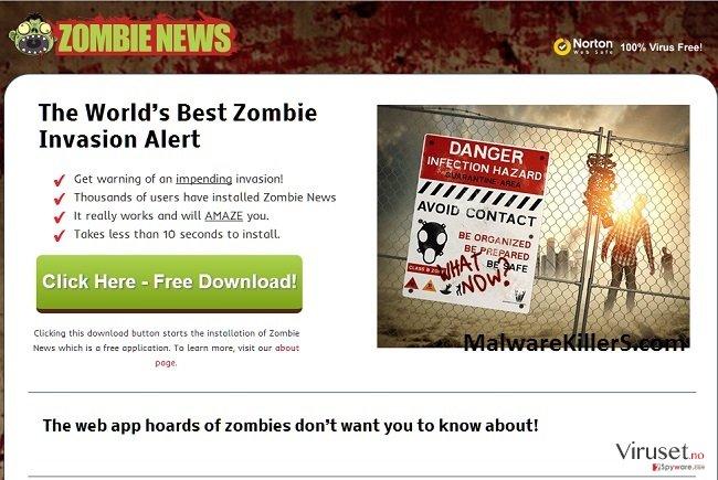 Zombie News adware skjermbilde
